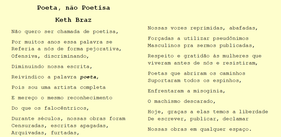Poeta, não Poetisa