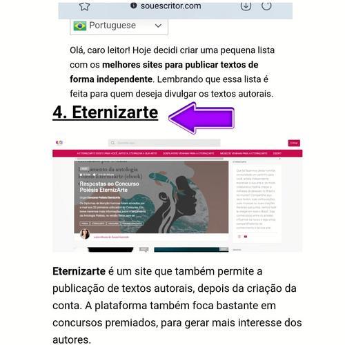 EternizArte foi indicada como um dos melhores sites do Brasil para publicação de textos independentes